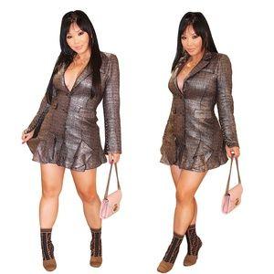 Metallic Plaid Blazer Mini Dress
